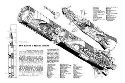 Saturn 5 Cutaway Poster Black and White Mini Poster 11