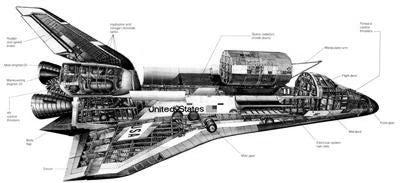 Space Shuttle Cutaway Poster Black and White Mini Poster 11