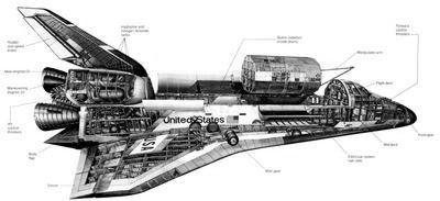 Space Shuttle Cutaway black and white poster