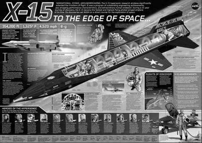 X15 Cutaway black and white poster
