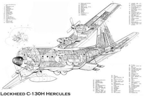 C130 H Cutaway Poster Black and White Mini Poster 11