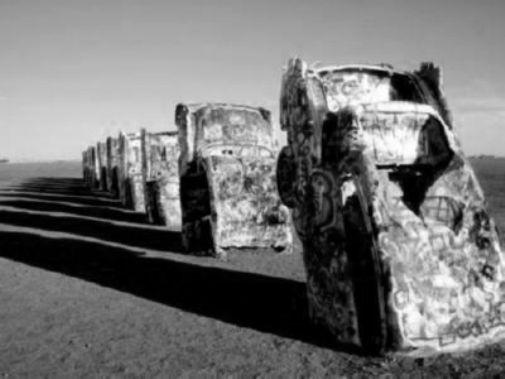Cadillac Ranch black and white poster