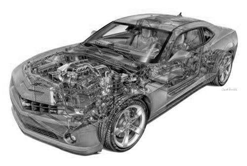 Camaro Chevy Cutaway black and white poster