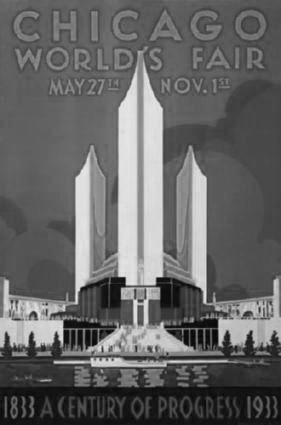 Chicago Worlds Fair Art black and white poster