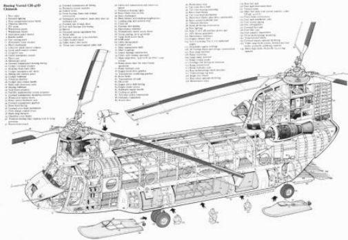 Chinook Helicopter Cutaway black and white poster
