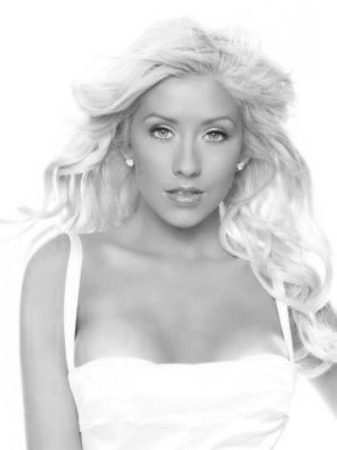 Christina Aguilera black and white poster