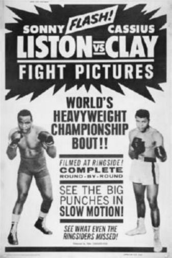 Cassius Clay Sonny Liston Fight black and white poster