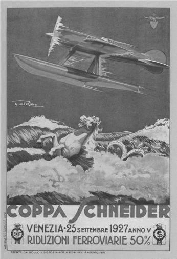 Italian Seaplanes Coppa Schneider 1927 black and white poster