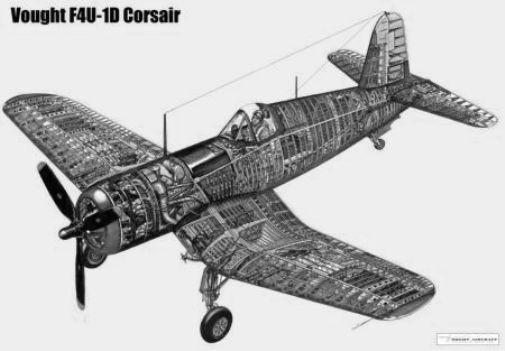 Corsair Airplane Cutaway black and white poster