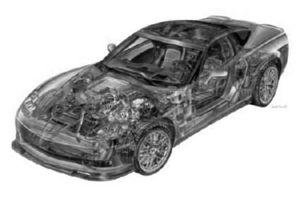 Corvette Zr1 Cutaway black and white poster
