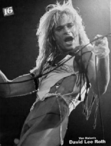 David Lee Roth black and white poster