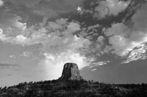 Devils Tower black and white poster