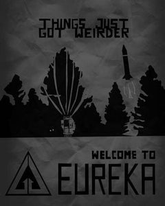 Eureka black and white poster