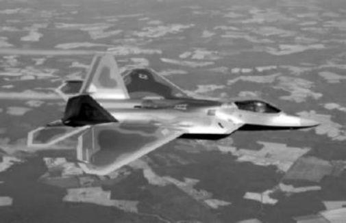F22 In Flight black and white poster