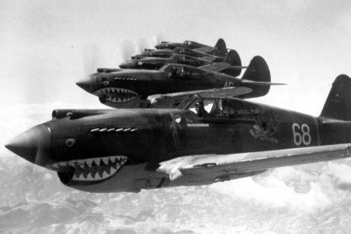 Flying Tigers 1942 Aircraft black and white poster