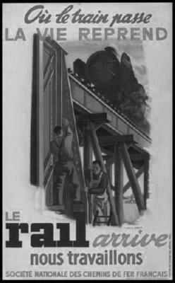 French National Railways 1944 black and white poster