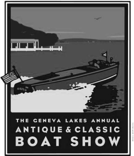 Geneva Boat Show black and white poster