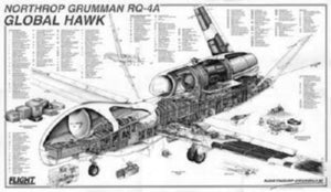 "Global Hawk Cutaway Poster Black and White Mini Poster 11""x17"""
