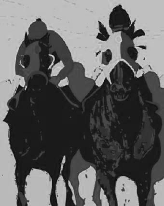 Horse Racing Pop Art black and white poster