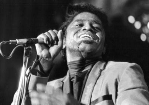 James Brown black and white poster
