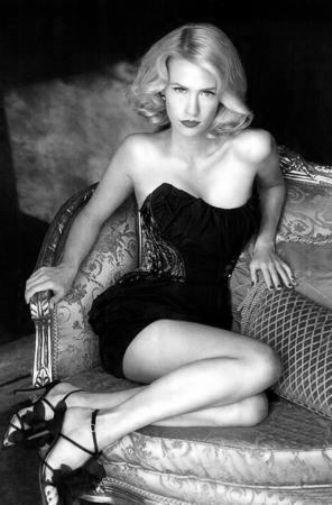 January Jones black and white poster