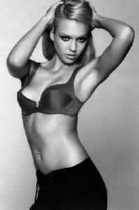 Jessica Alba black and white poster