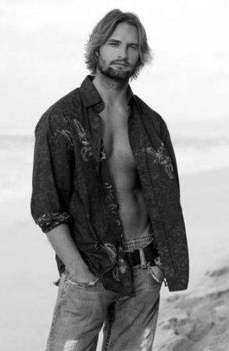 Josh Holloway black and white poster