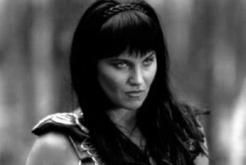 Lucy Lawless black and white poster