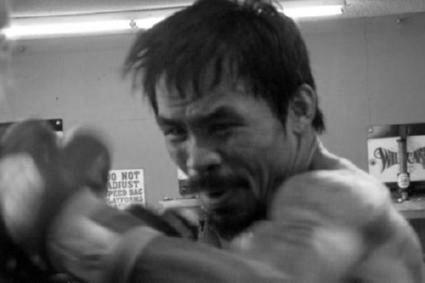 Manny Pacquiao black and white poster