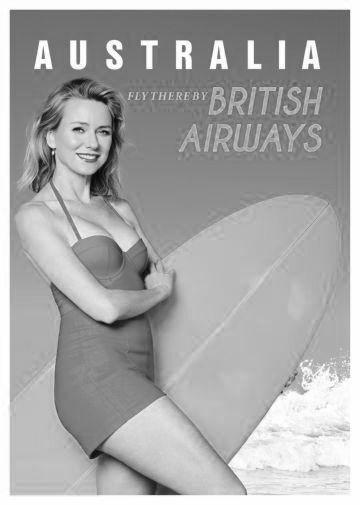Australia Naomi Watts British Airways poster tin sign Wall Art
