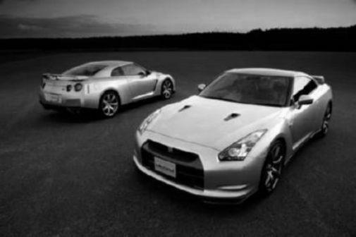 Nissan Gtr black and white poster
