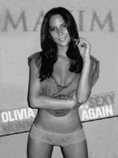 Olivia Munn black and white poster