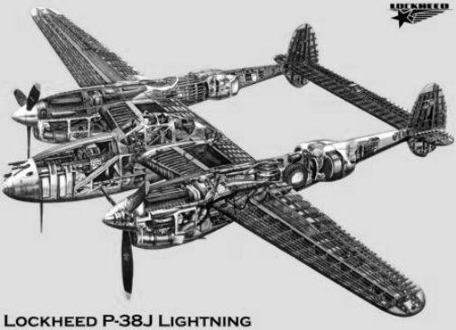 P38J Cutaway black and white poster