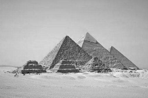 Pyramids black and white poster