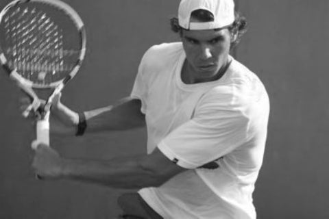 Rafael Nadal black and white poster