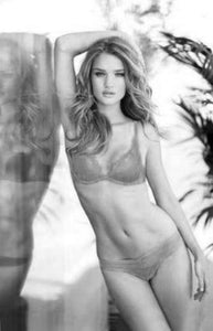 Rosie Huntington black and white poster