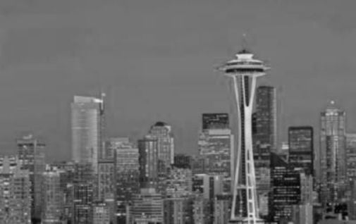 Seattle Skyline black and white poster