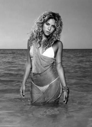 Shakira black and white poster