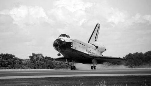 Space Shuttle Landing black and white poster