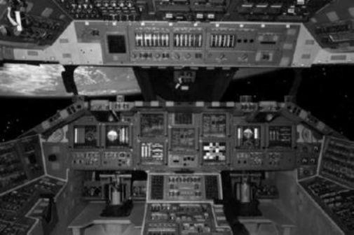 Space Shuttle Cockpit black and white poster
