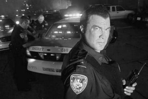 Steven Seagal black and white poster