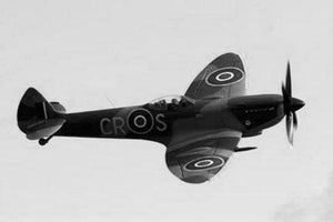 Super Marine Spitfire Mkxvi black and white poster