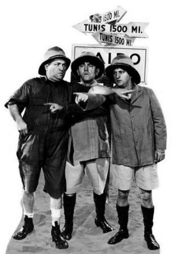 Three Stooges Safari black and white poster