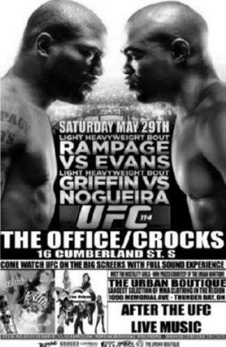 Ufc 114 Rampage Vs Evans black and white poster