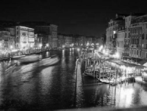 Venice At Night black and white poster