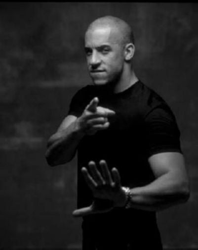 Vin Diesel black and white poster