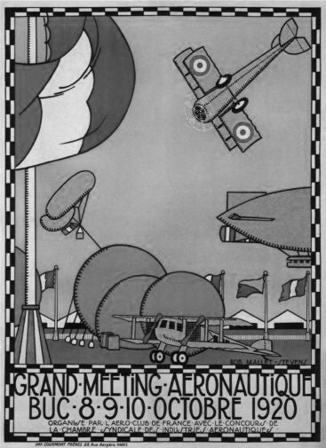 Vintage Planes Fly-In 1920 black and white poster
