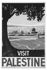 "Visit Palestine Black and White Poster 24""x36"""