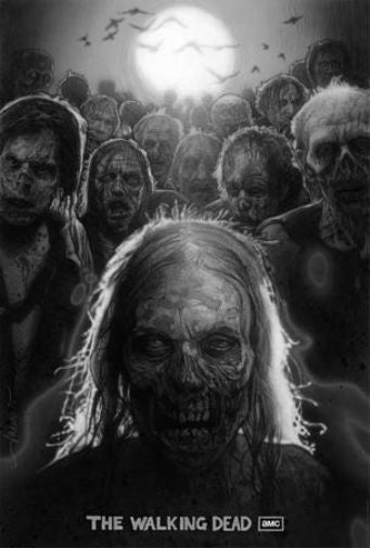 Walking Dead black and white poster