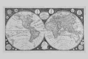 World Map 1799 poster tin sign Wall Art